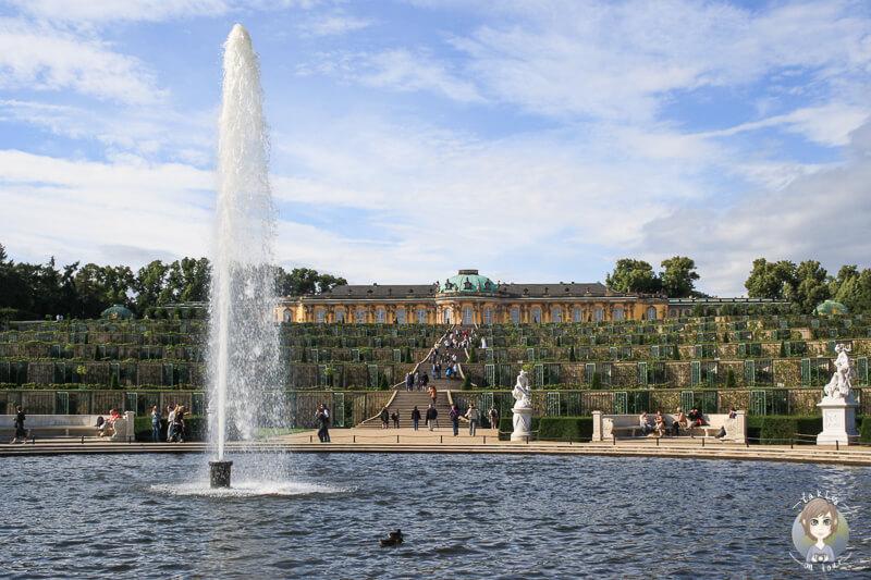 Der Brunnen im Lustgarten von Schloss Sanssouci, Potsdam
