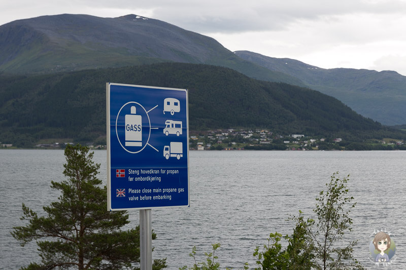 Hinweis zum Ausstellen von Gas auf einer Fähre in Norwegen