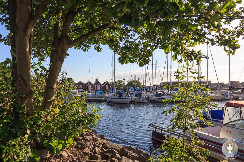 Blick auf die Marina in Falkenberg, Schweden