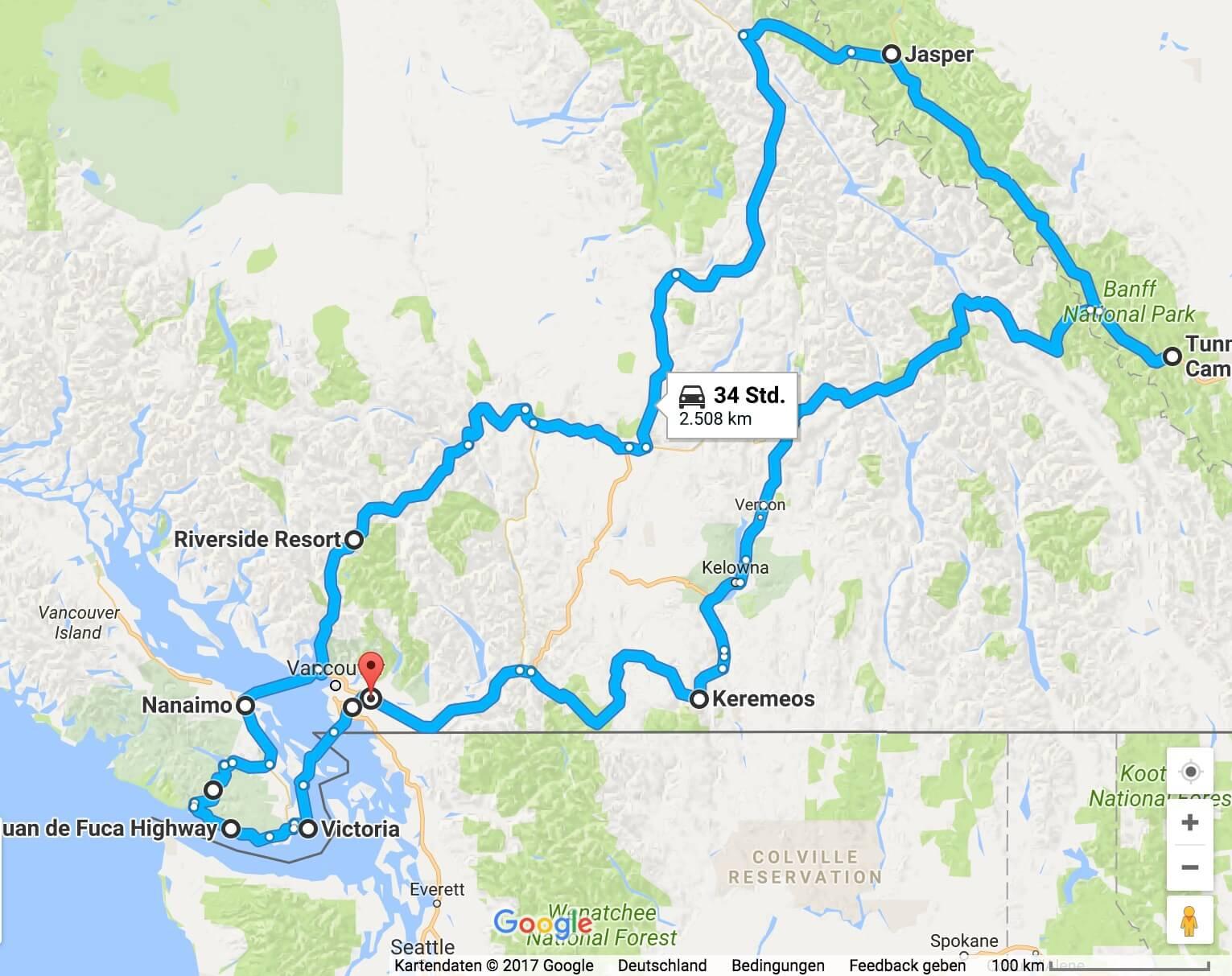 Die Route des Familienurlaub Kanada 2016