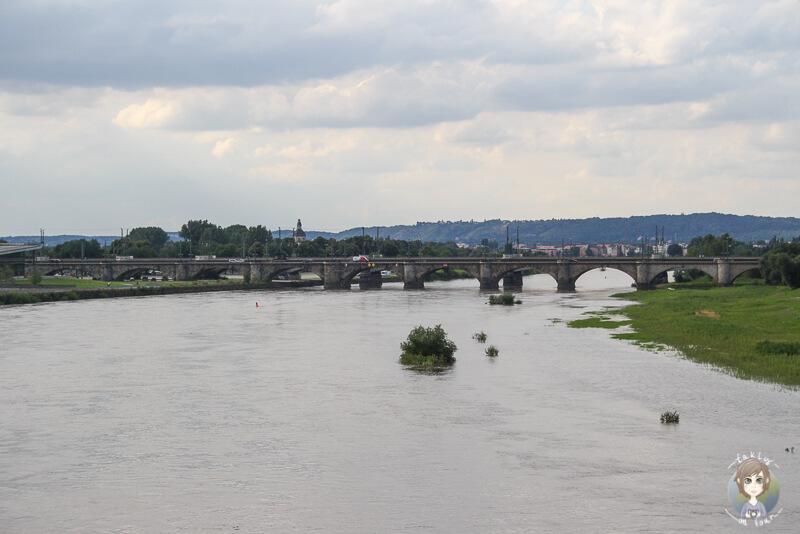 Aussicht auf die Elbe und eine Bruecke im Hintergrund in Dresden