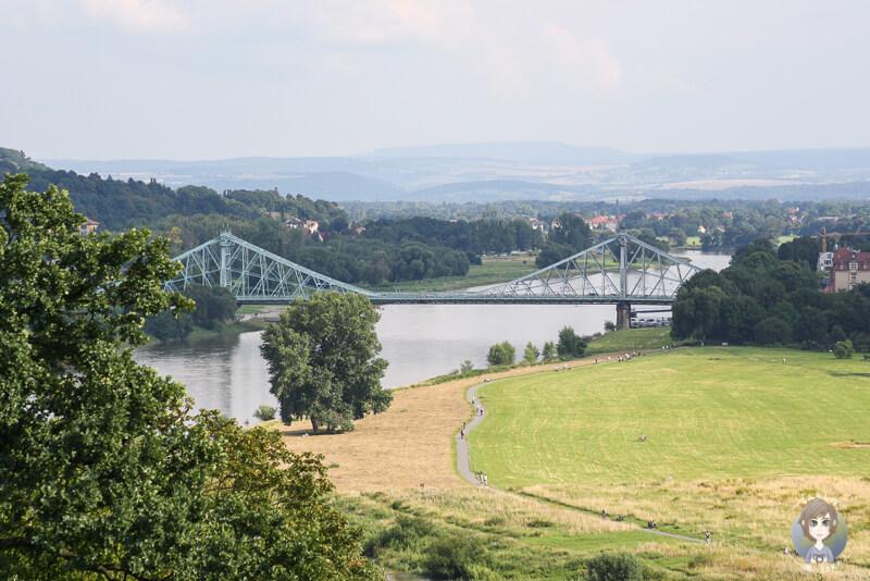 Ausblick von der anderen Elbseite auf die Bruecke das blaue Wunder in Dresden