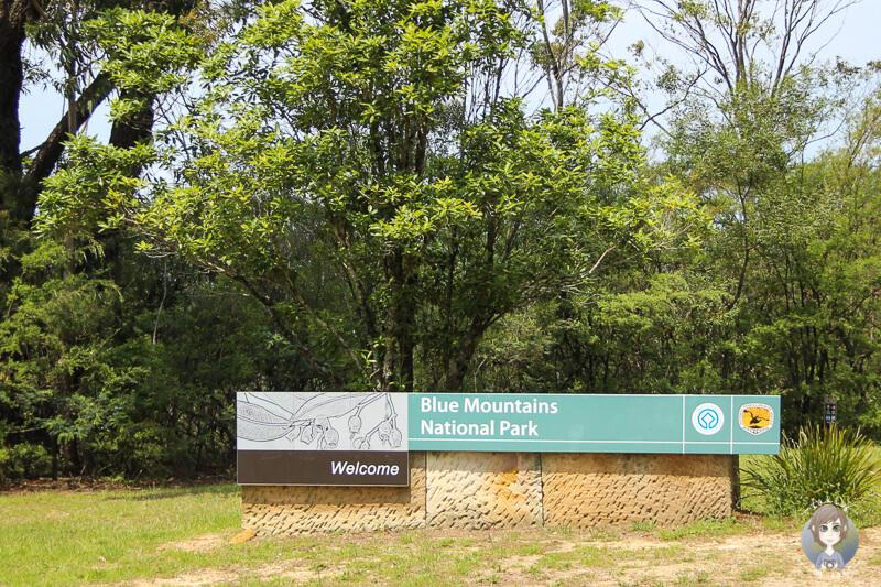 Schild zum Eingang des Blue Mountain National Parks