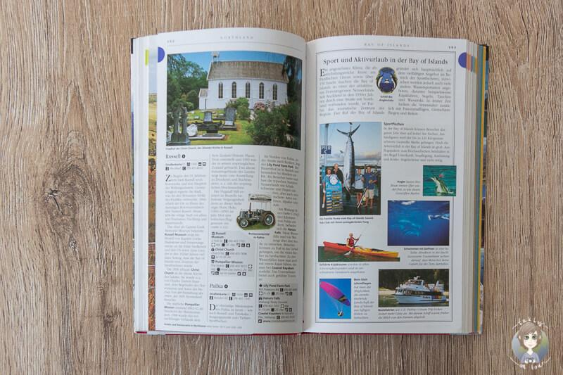DK Verlag reisefuehrer Neuseeland Vis a vis aufgeklappt auf einem Tisch