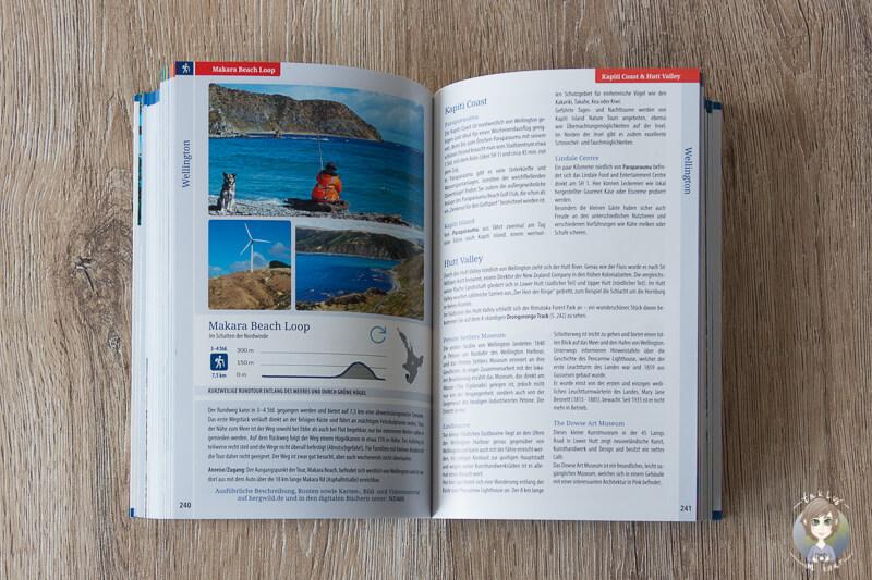 Combobook Neuseeland Live Bergwild Verlag aufgeschlagen auf einem Tisch