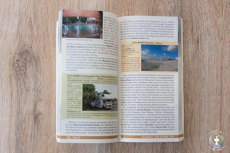 Aufgeschlagener Reisefuehrer Mit dem Wohnmobil in Neuseeland WOMO Reihe