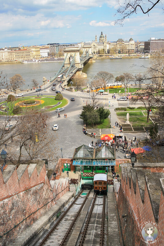Blick Seilbahn Burgberg Budapest