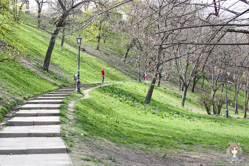 Der Fußweg zum Burgpalast in Budapest