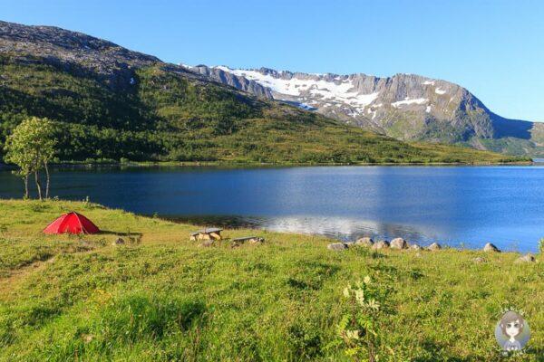 Ein Zelt an einem Fjord hier gilt das Jedermannsrecht in Norwegen