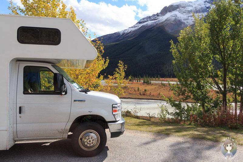 Mit dem Wohnmobil am Icefields Parkway, Alberta