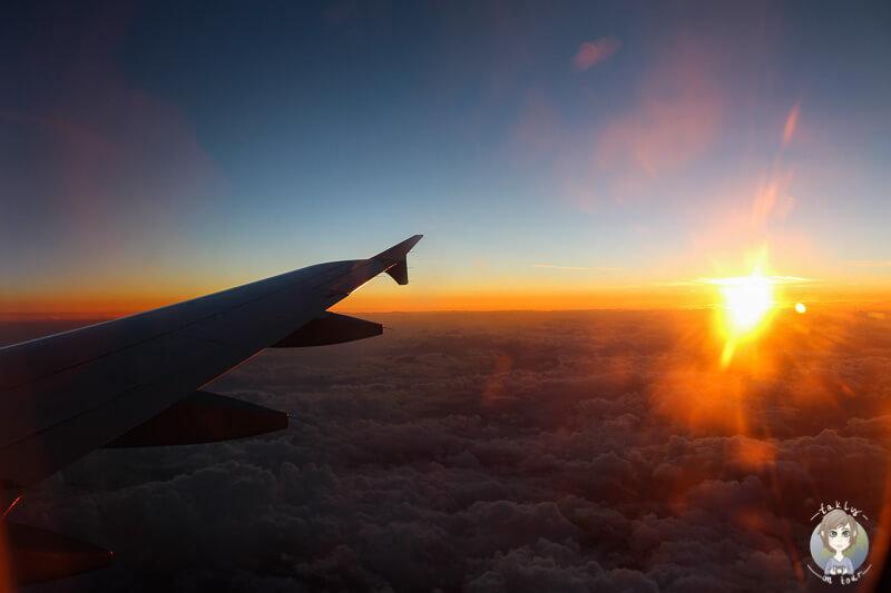 Blick aus dem Flugzeug auf dem Weg nach Italien