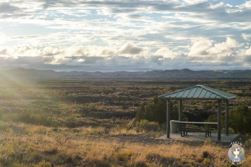 Ein Picknickplatz im Valley of Fires in New Mexico