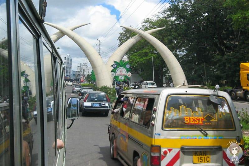 Mombasa Wahrzeichen auf der Hauptstraße