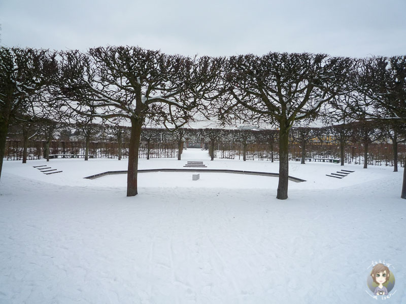 Ein Brunnen am Schloss Brühl im Winter