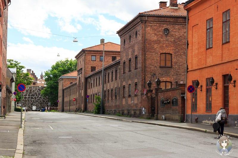 Eine Häuserzeile auf unserem Weg in Oslo