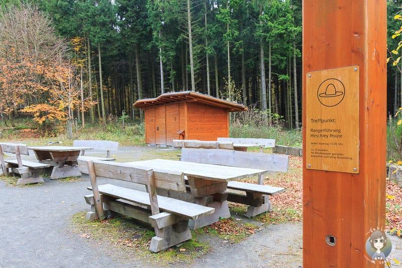 Picknickplätze und Treffpunkt der Rangerführungen am Wilden Kermeter