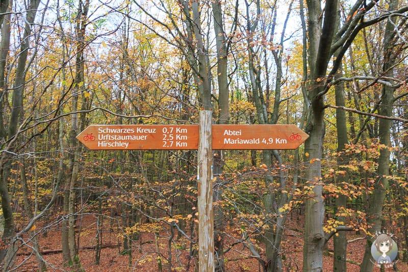 Ein Wegweiser zeigt den Weg am Wilden Kermeter