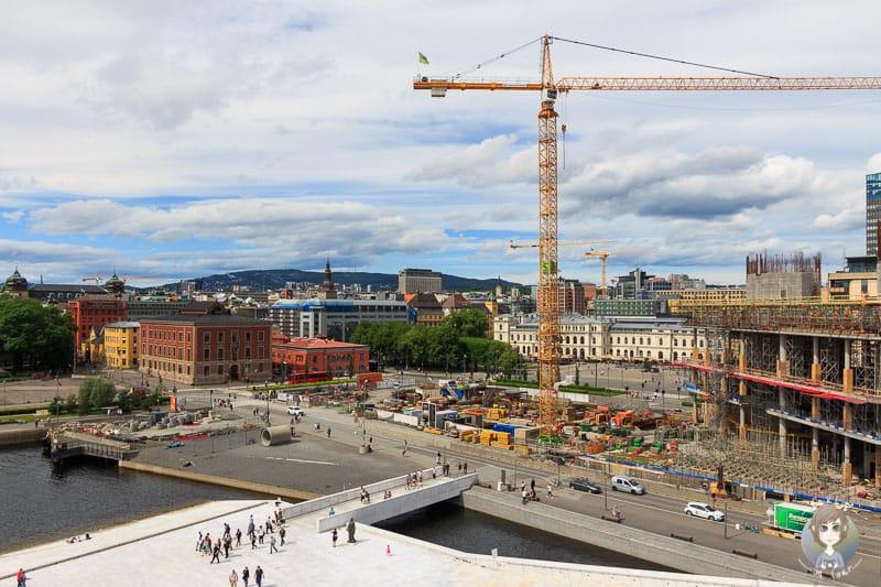 Aussicht vom Dach der Oper in Oslo