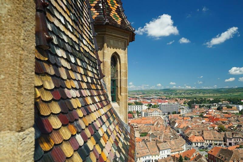 Sibiu von oben auf der Europareise von Comewithus2