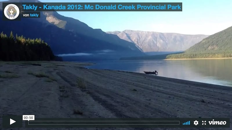 Video vom Mc Donald Creek Provincial Park