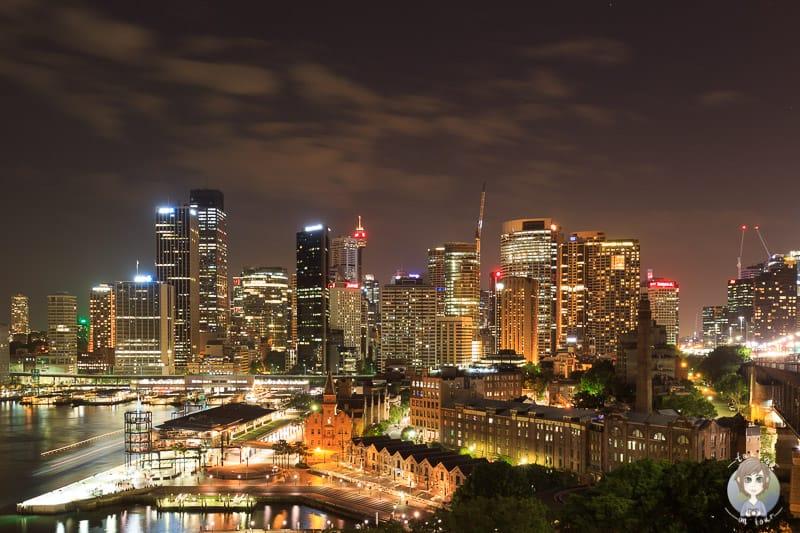 Aussicht auf Sydney bei Nacht