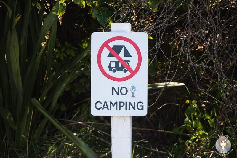 Verbotsschild zum Freedom Camping in Neuseeland