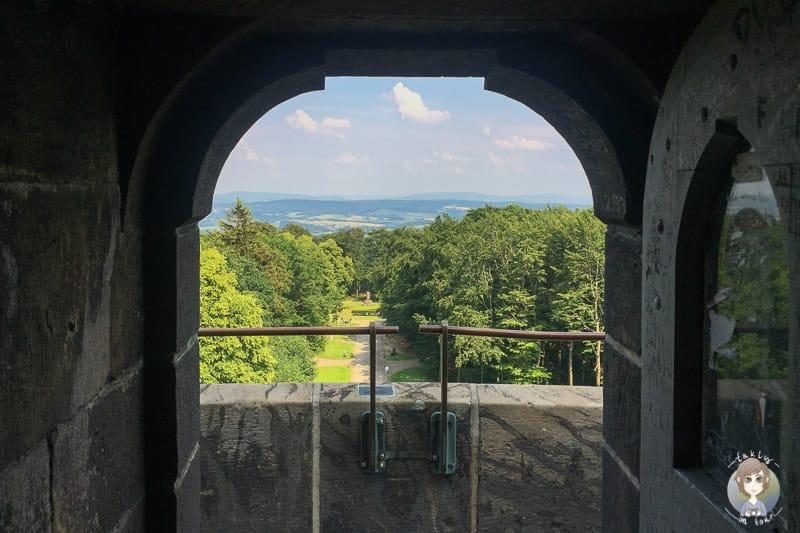 Erster Blick von der Aussichtsplattform auf dem Hermannsdenkmal Detmold