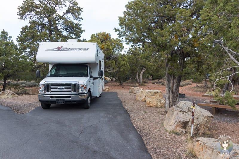 Mit dem Wohnmobil auf dem Desert View Campground am Grand Canyon