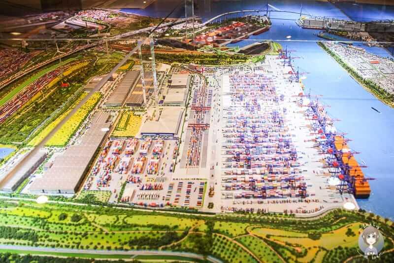 Modell eines Hafens im IMMHamburg