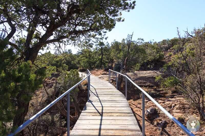 Ein Holzsteg auf dem Sandal Trail oberhalb vom Betatakin Canyon
