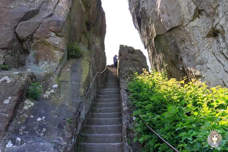 Eine der steilen Treppen zur Aussichtsplattform