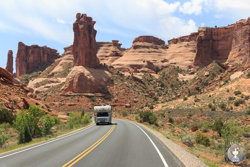 Reise mit dem Wohnmobil durch den Arches National Park in Utah, USA Südwesten