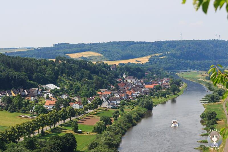 Die Aussicht auf Herstelle vom Weser Skywalk