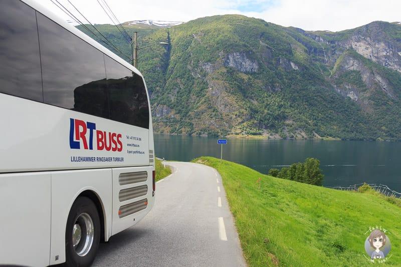 Keine Ausweichmöglichkeit auf einer schmalen Straße in Norwegen