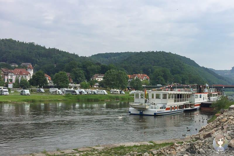 Das Fahrgastschiff der Flotte Weser in Bad Karlshafen