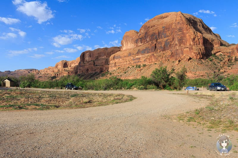Blick über den Gold Bar Campground in Moab