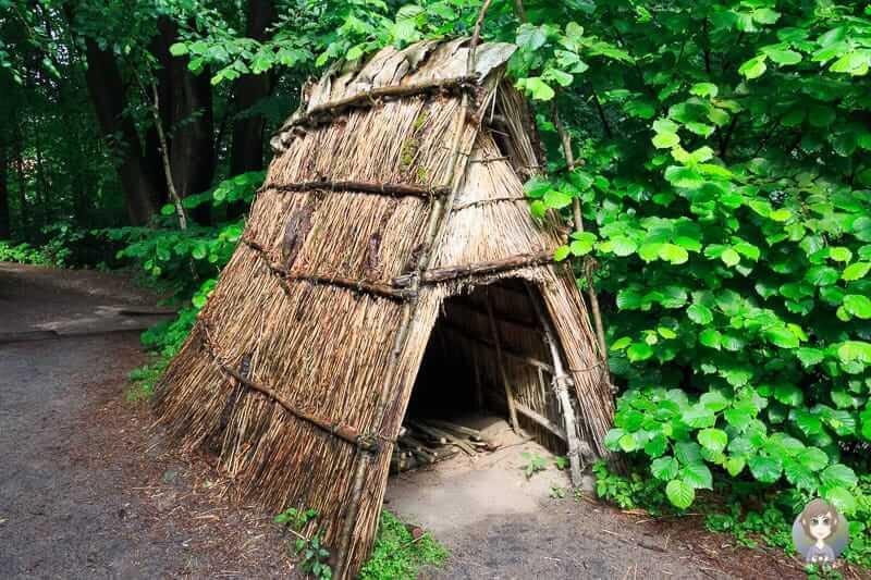 Eine Hütte in der Mittelsteinzeit im Freilichtmuseum Oerlinghausen