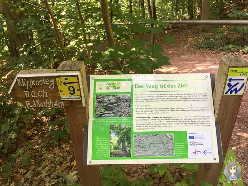Der Klippensteig an den Hannoverschen Klippen im Weserbergland