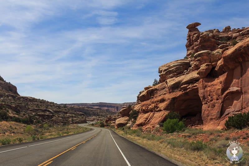 Die Landschaft während unserer Fahrt Richtung Moab