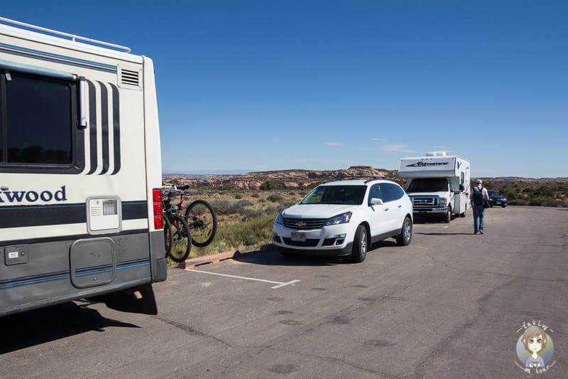 Der RV Parkplatz am Mesa Arch im Canyonlands Nationalpark