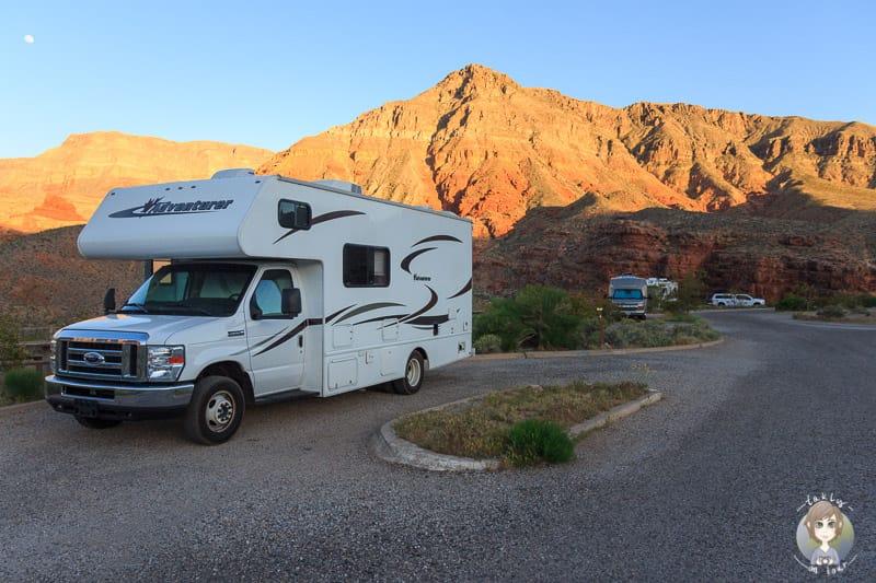 Abendliche Kulisse auf dem Virgin River Canyon Campground