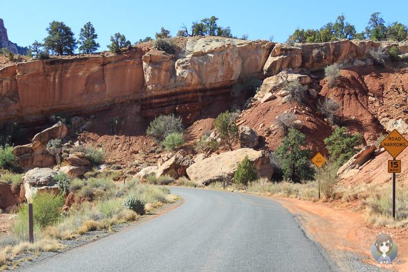 Felsen nah an der Straße auf dem Weg Richtung Capitol Gorge