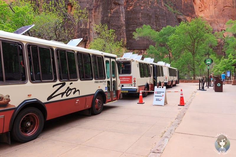 Der Zion Shuttle an der Haltestelle Temple of Sinawava Zion Nationalpark