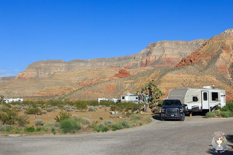 Schöne Stellplätze auf dem Virgin River Canyon Campground
