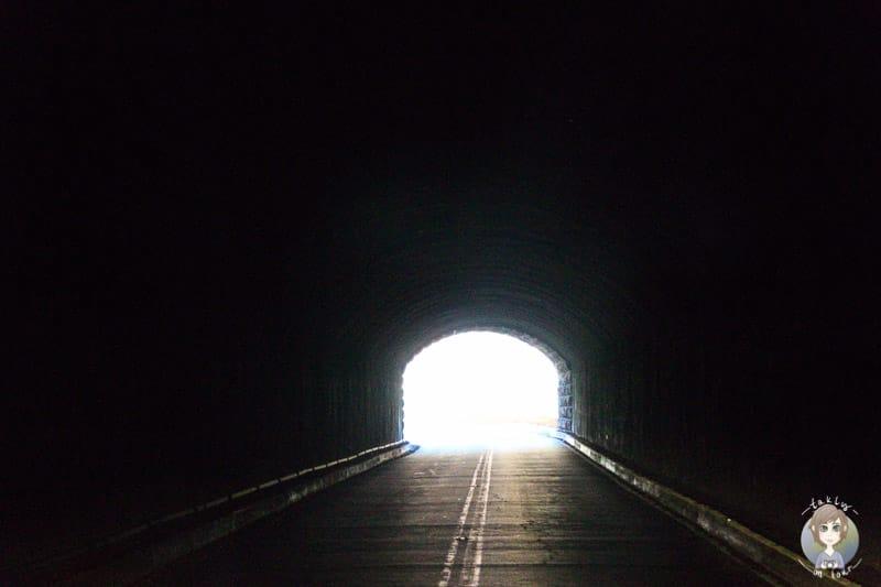 Der Tunnel im Zion Nationalpark f+r den Wohnmobile ein Permit brauchen