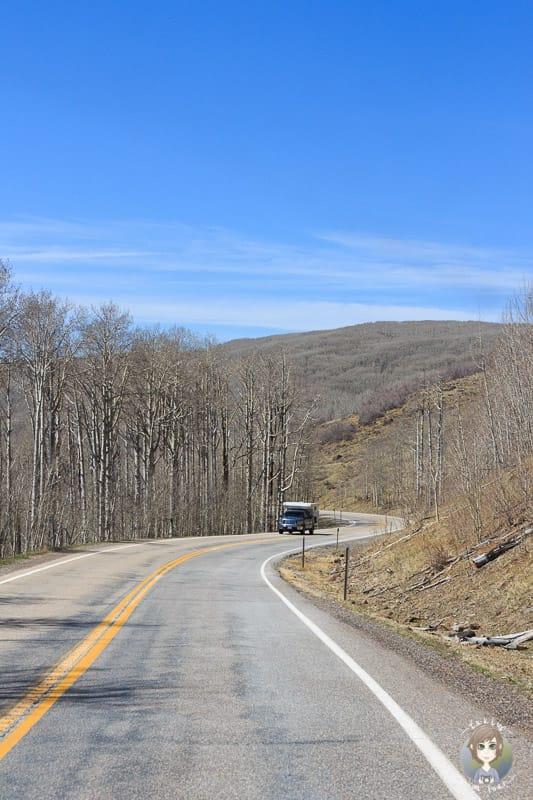 Fahrt über den Utah Highway 12 Richtung Boulder