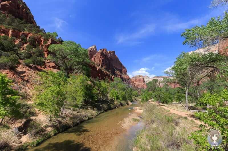 Der Lower Emerald Pool Trail verläuft links