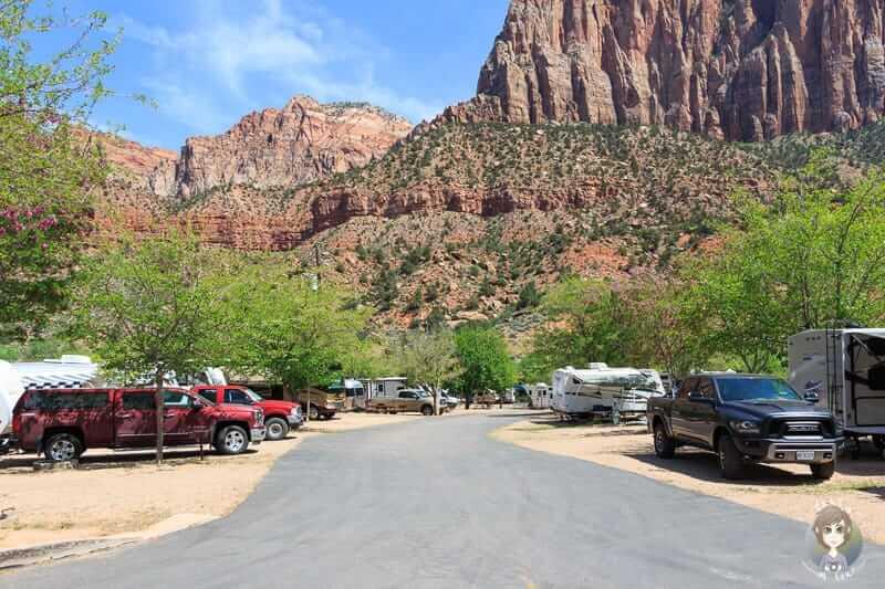Blick über den Zion Canyon Campground