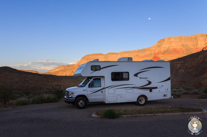 Camping am Abend auf dem Virgin River Canyon Campground