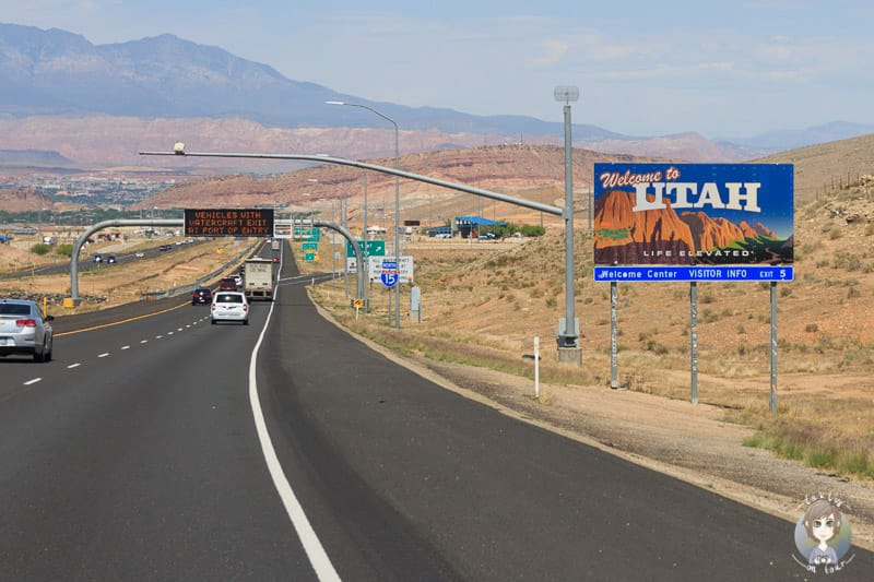 Der Grenzübertritt von Arizona nach Utah